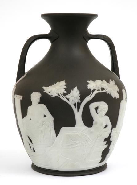 Wedgwood Black Basalt Jasperware Portland Vase Of Baluster