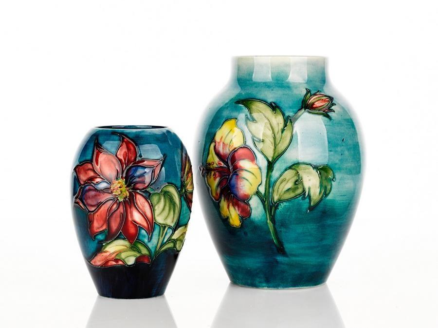 William Moorcroft, 'Hibiscus' pattern vase, teal glaze with