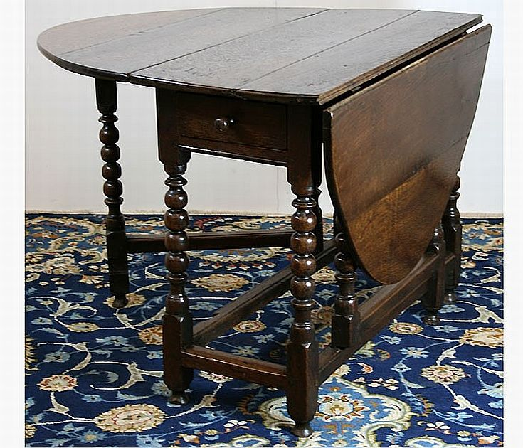 An 18th century oak gateleg table with hinged top end drawer on tables furniture carter 39 s - Gateleg table with drawers ...