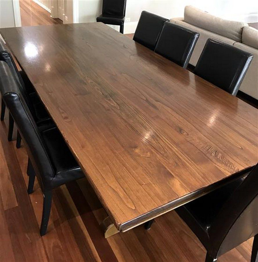 A Coco Republic Oak Dining Table With Timber Iron Base 74 X Tables Dining Other Large Furniture