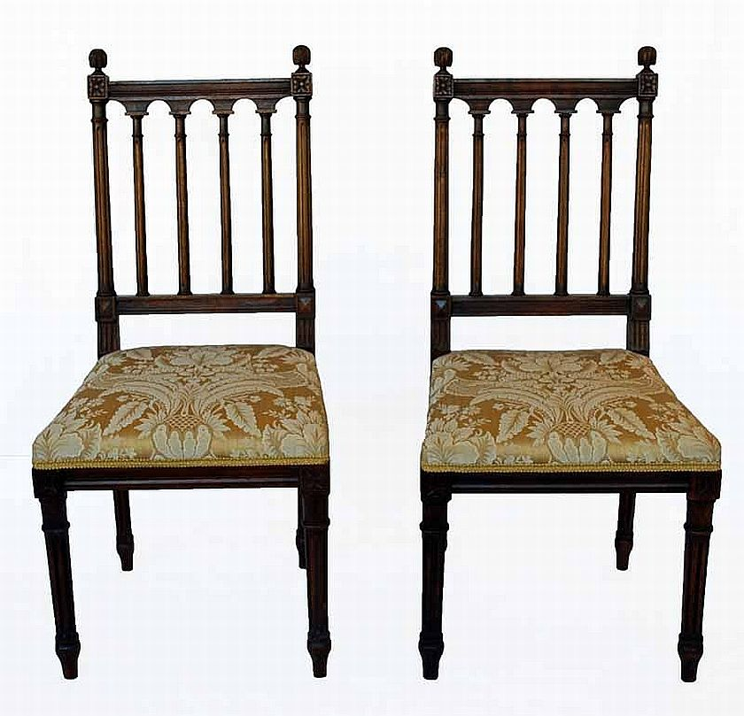 A Pair Of Upholstered French Walnut Classical Style Chairs
