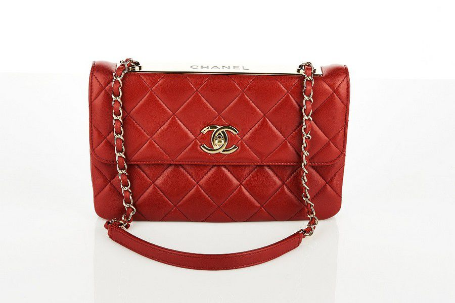 2a922f5ccde07d Chanel, Envelope flap bag, red quilted lambskin with gold tone ...