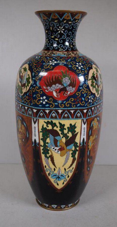 Large Japanese Cloisonne Vase Circa 1900 31 Cm High Cloisonne Oriental