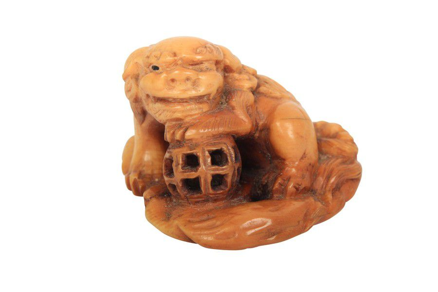 Netsuke Carved Bone Dragon And Lamp Netsuke Oriental
