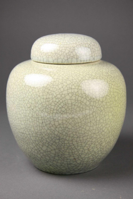 A Japanese celadon crackle glaze ginger jar, 20th century ...