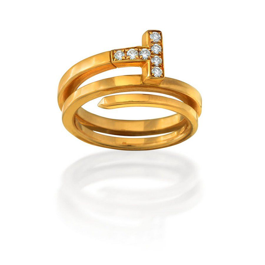 9eaff7d05 18ct rose gold and diamond 'Tiffany T square Wrap' ring,… - Rings ...