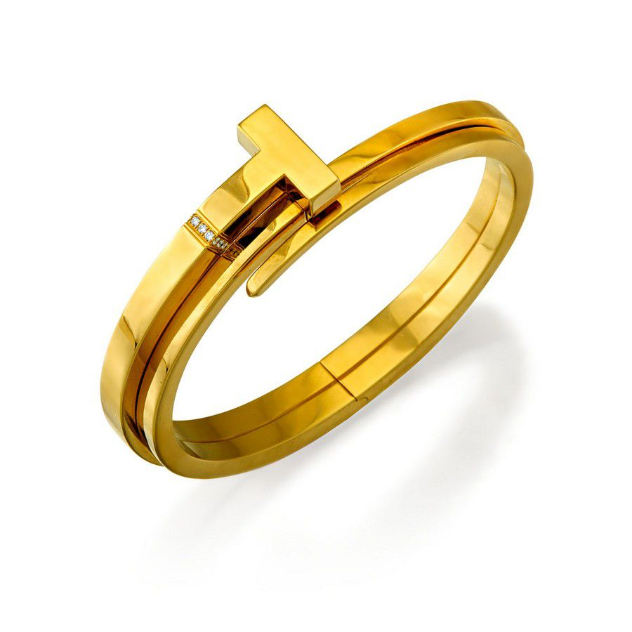 9e27e095b 18ct gold and diamond 'Tiffany T square Wrap' bangle, Tiffany ...