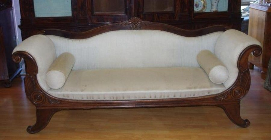 Victorian Double Ended Chaise Lounge With Scroll Carved Arms Seating Lounges Settees And Suites Furniture
