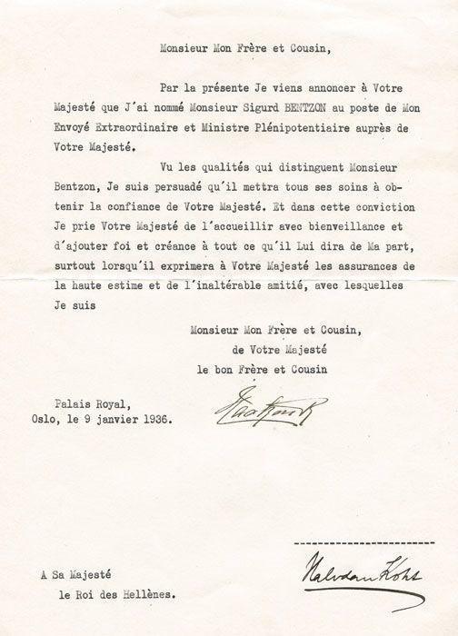 Haakon VII 1872 1957 Frst King Of Norway Signed Letter
