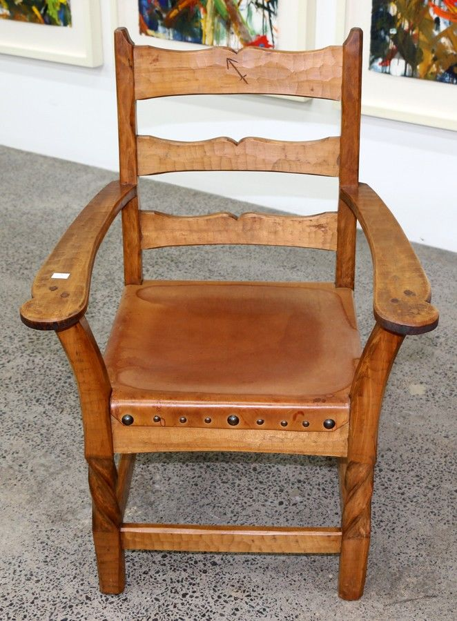 Rex Chapman Taylor Pair Of Kauri Hand Adzed Armchairs With