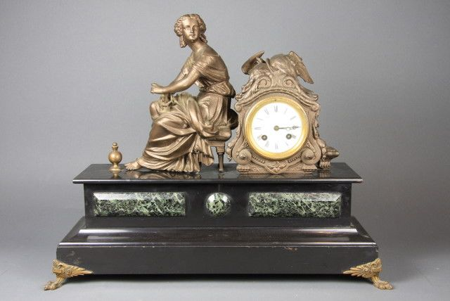 A Continental Black Marble And Spelter Figural Mantel
