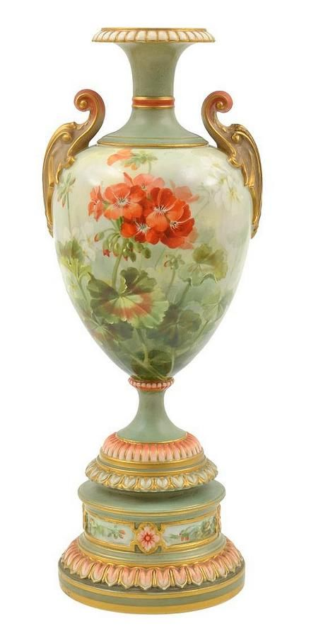 A Royal Worcester Vase Frank Roberts Tapering Body With Scroll