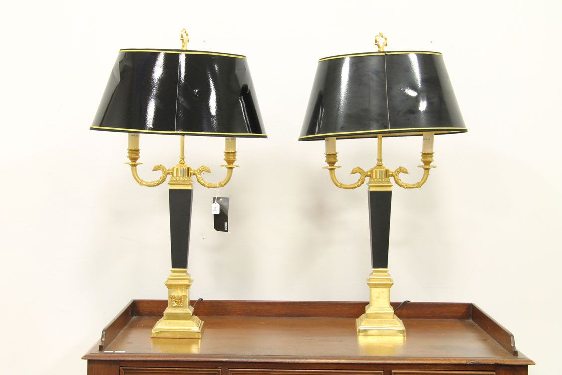 A pair of versace table lamps in neo classical form in for Table versace