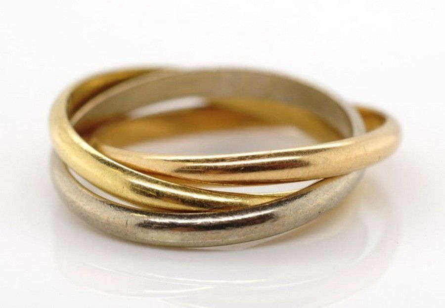 20e688d625f03 18ct tri colour Russian wedding band marked 18ct AC approx… - Rings ...