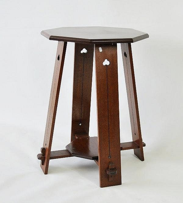 Australian arts crafts oak side table silky oak with for Arts and crafts side table