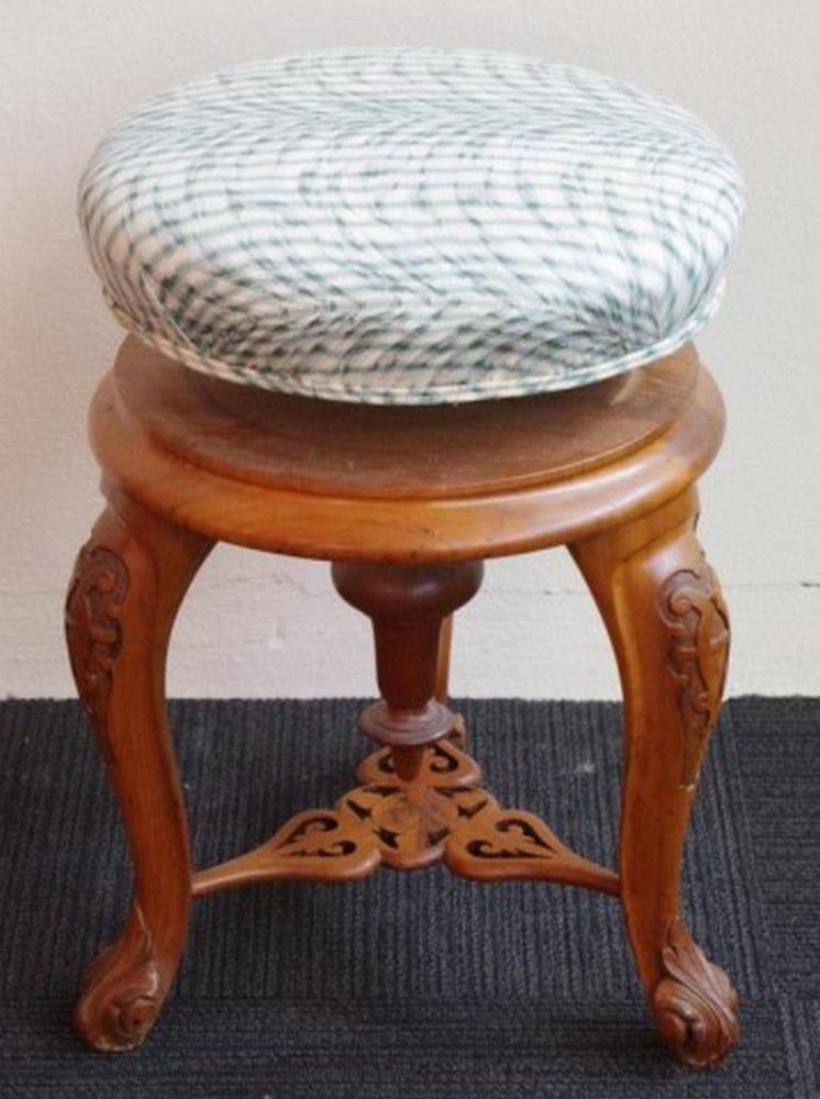 Dressing Table Chairs And Stools: Antique Dressing Table Stool With Adjustable Height And