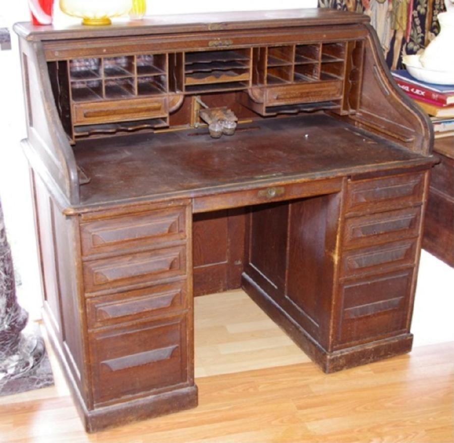 Vintage Cutler oak roll top desk - Vintage Cutler Oak Roll Top Desk - Desks - Cutler, Roll Top And