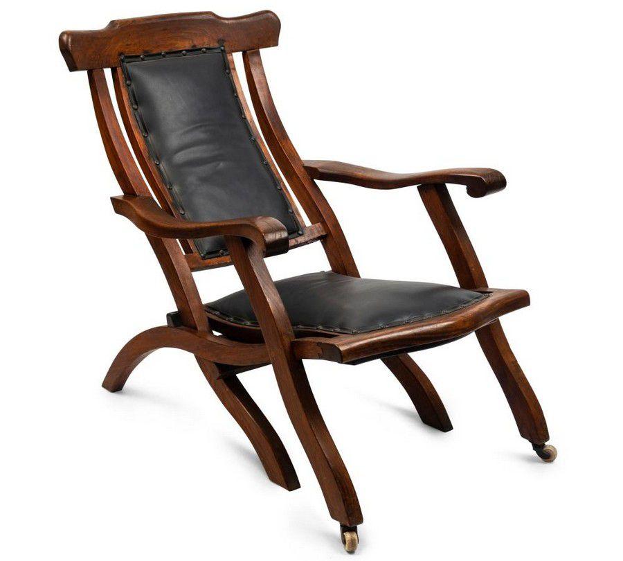 A rare Australian armchair, blackwood and leather ...