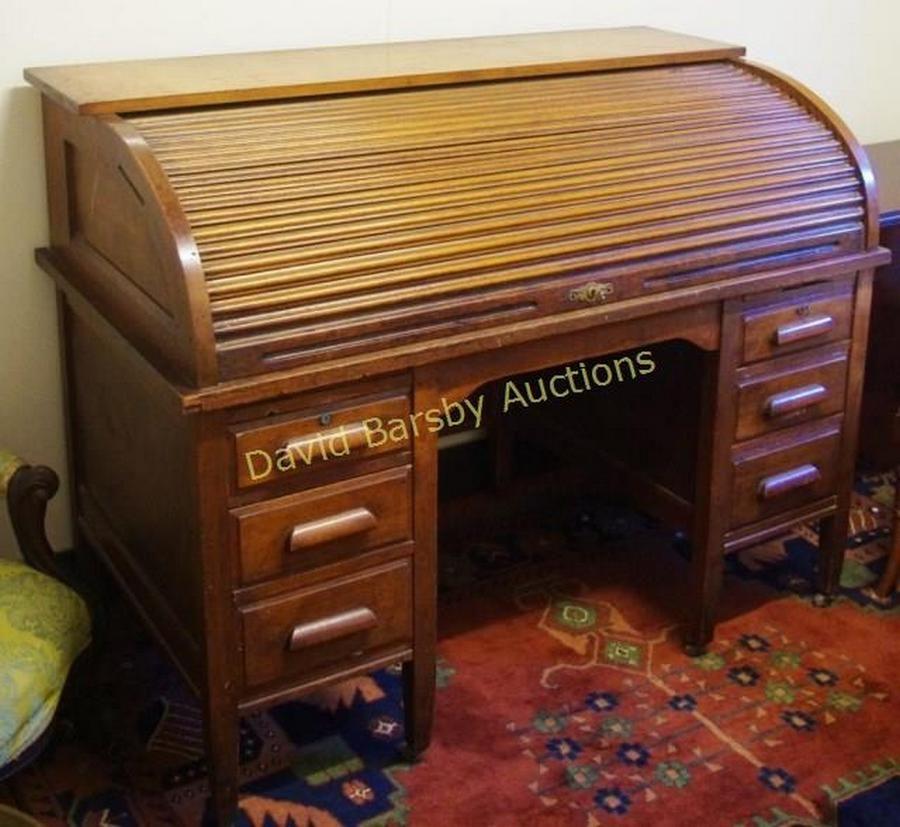 Vintage American Twin Pedestal Roll Top Desk 138 Cm Wide