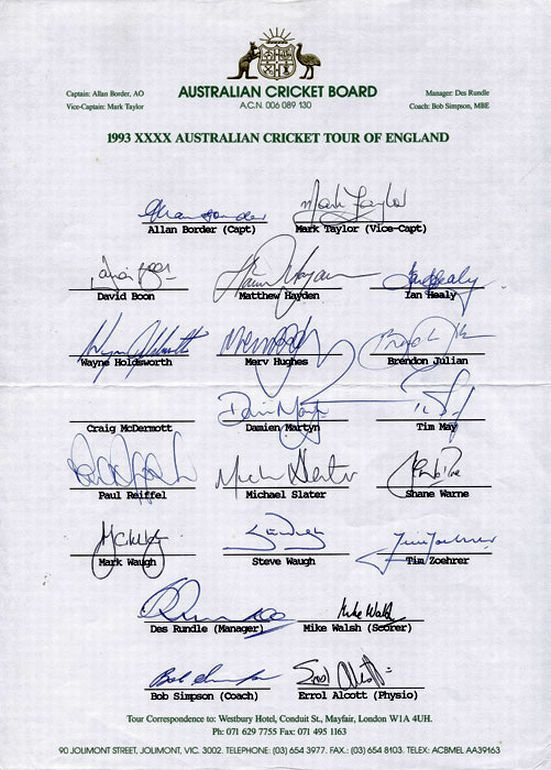 1993 Australian Team to England, official team sheet with ...