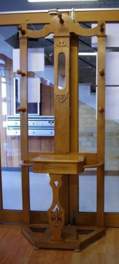 Antique Oak Hall Stand With Mirror And Lift Lid Compartment