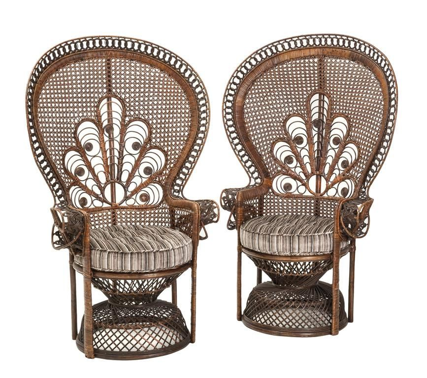 A Pair Of Fine Quality Wicker Work Peacock Chairs French