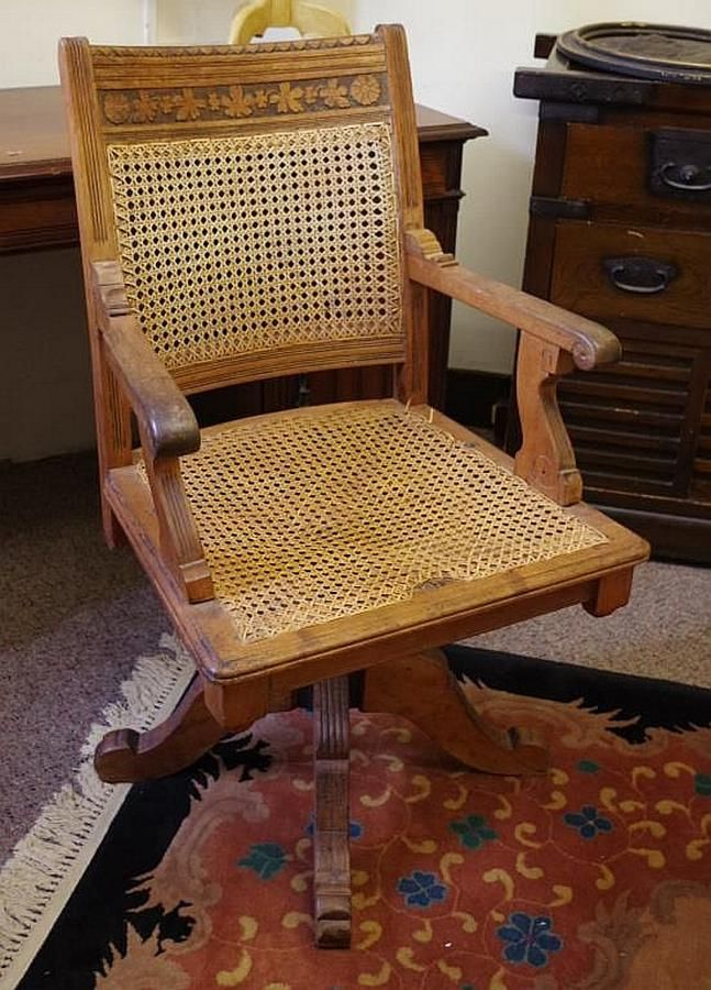 Fine Vintage Swivel Desk Chair With Woven Cane Seat And Back Spiritservingveterans Wood Chair Design Ideas Spiritservingveteransorg