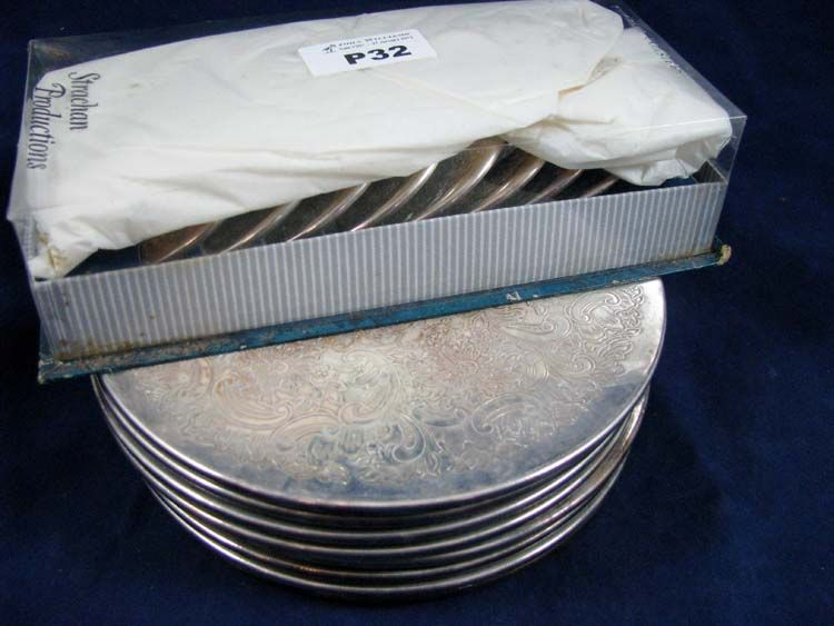 Set Of 8 Strachan Silver Plated Placemats And 8 Coasters Wine Coasters Silver Plate