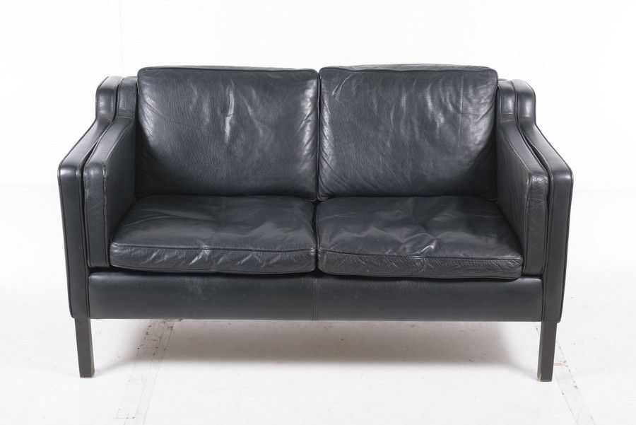 Danish two seater sofa, black leather on wooden base ...