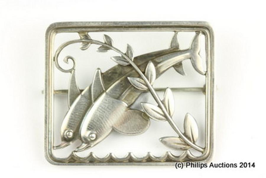 Silver georg jensen dolphin brooch by arno malinowski brooches