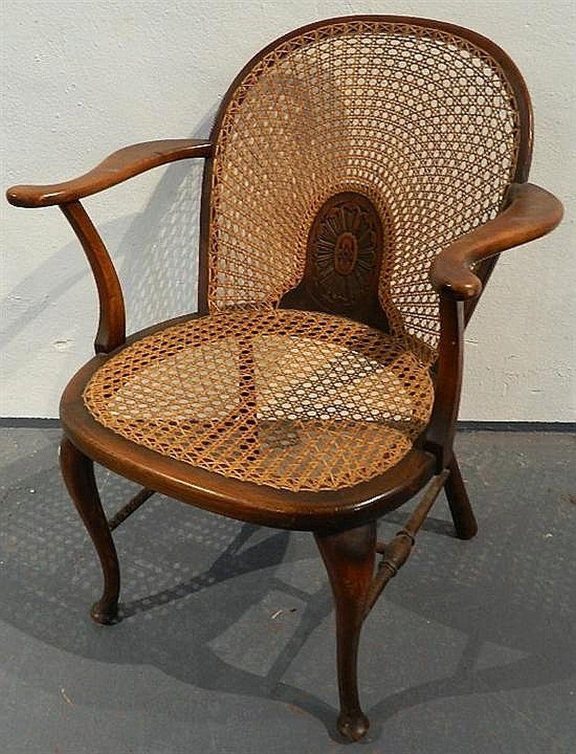 A Regency Style Cane Seat Oak Armchair Grace Brothers Ltd