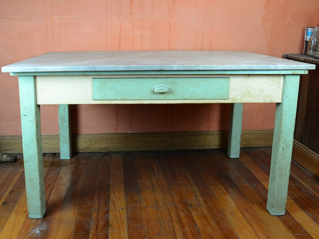 a green painted marble top kitchen table 78 cm high 84