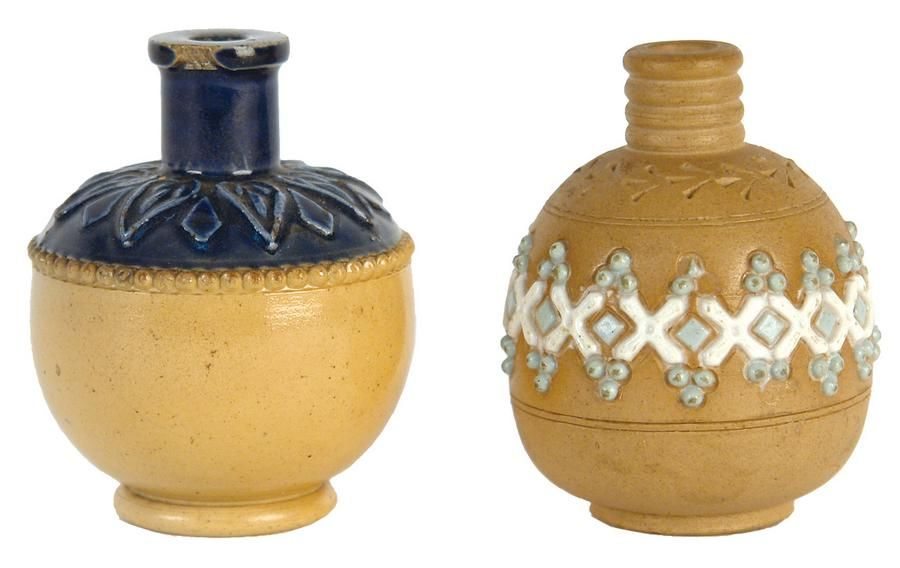 Two Doulton Lambeth Miniature Vases Of Ovoid Shape