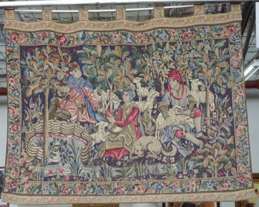 French wall tapestry 'La Tonte Des Moutons', 185 cm x 140 cm