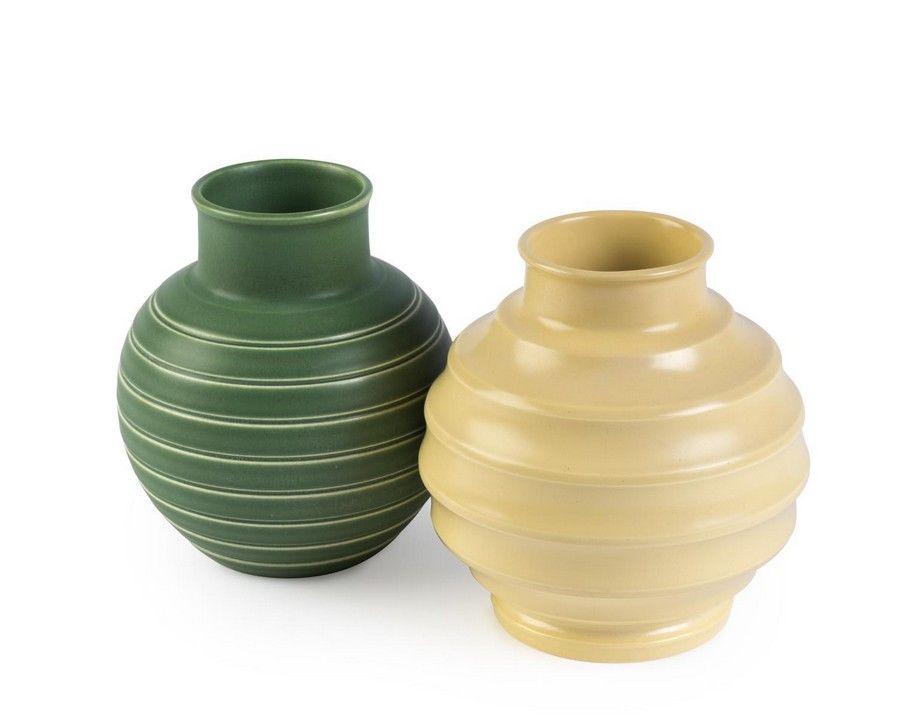 Two Keith Murray Wedgwood Vases Matt Green And Matt Straw