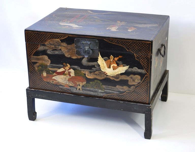 Awe Inspiring Chinese Black Lacquer Chest On Stand Hand Painted Gmtry Best Dining Table And Chair Ideas Images Gmtryco