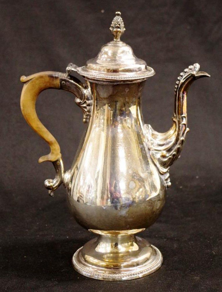 Antique Sheffield plate coffee pot with wooden handle