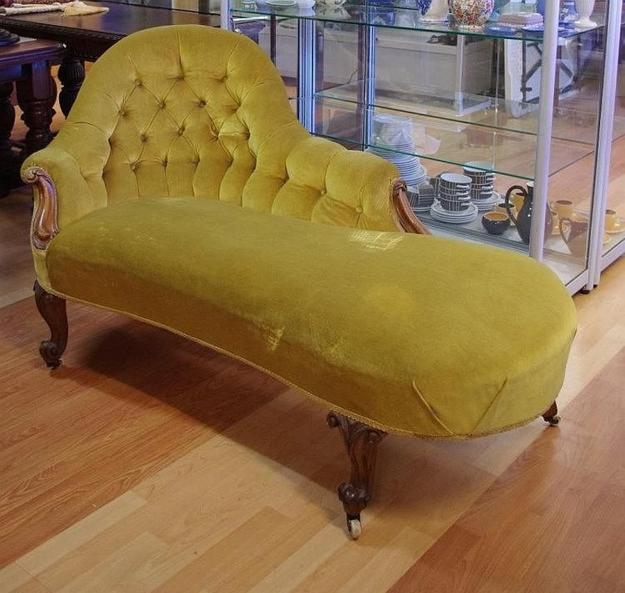 Victorian Rococo Style Chaise Lounge With Scroll Carving