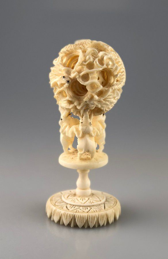 Carved Ivory Puzzle Ball On Elephant Stand 12 Cm Height Ivory Oriental