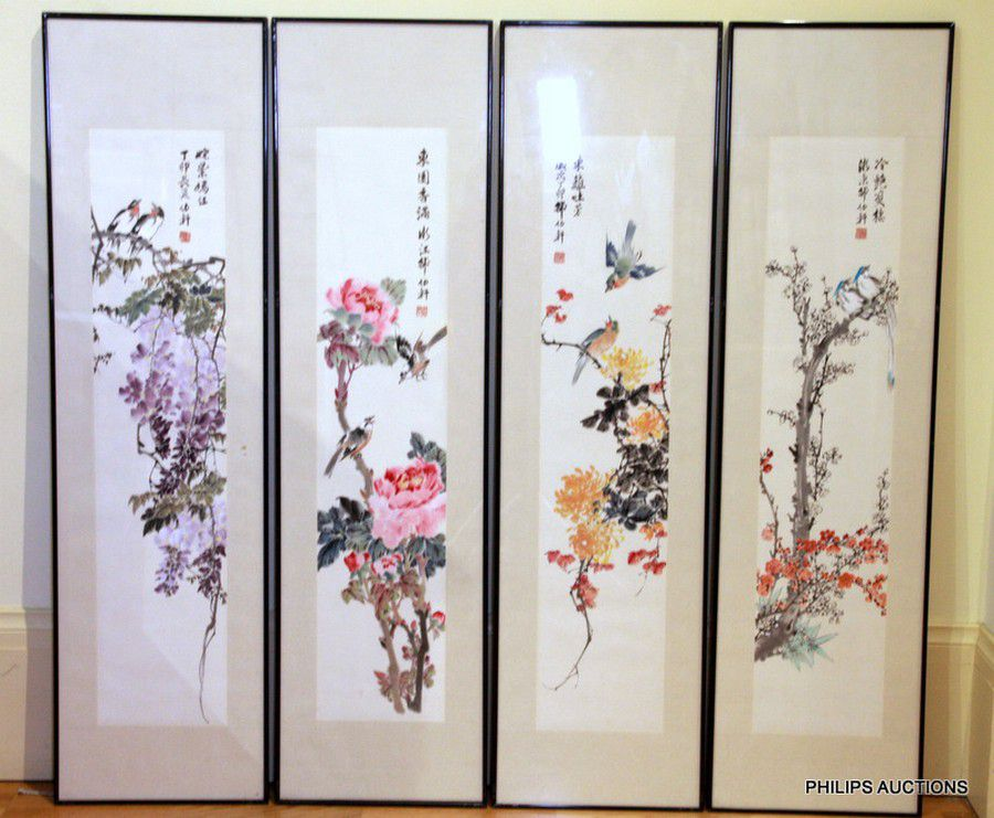a set of four chinese paintings depicting the four seasons