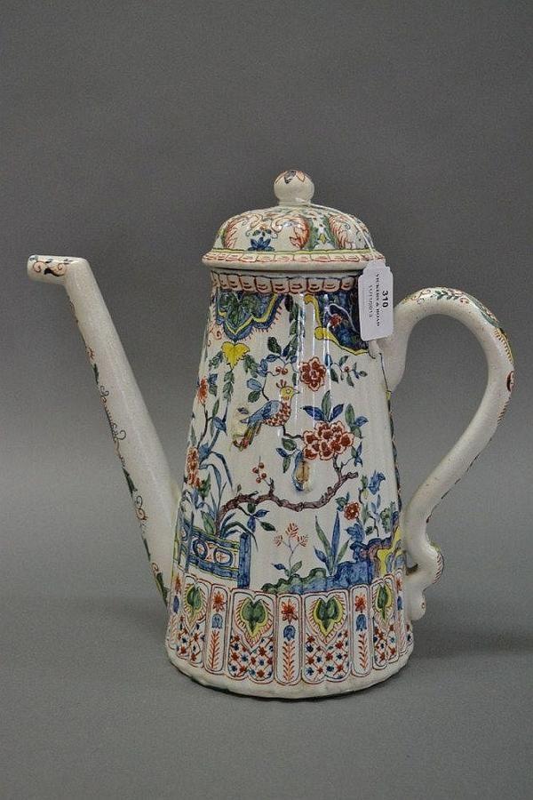 A Dutch Delft Chinoiserie coffee pot, circa 1705 - 1720, iron… - Zother - 18th Century ...