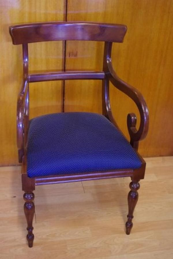 Victorian style armchair with rail back, turned front legs ...