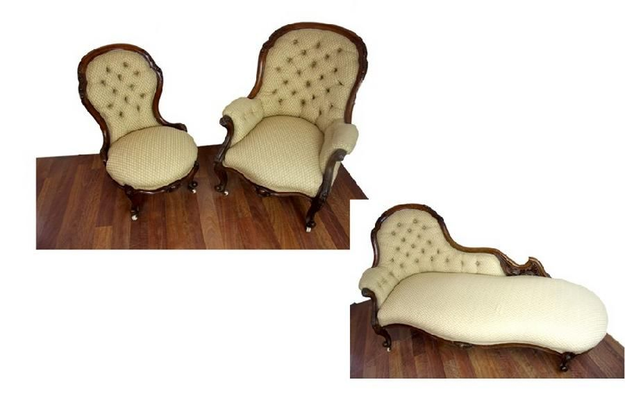 A victorian walnut drawing room suite comprising a chaise for Chaise longue dwg
