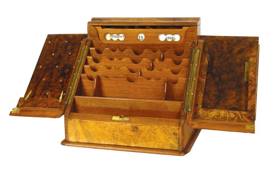A Victorian burr walnut desk top escritoire, the sloping front… - A Victorian Burr Walnut Desk Top Escritoire, The Sloping Front