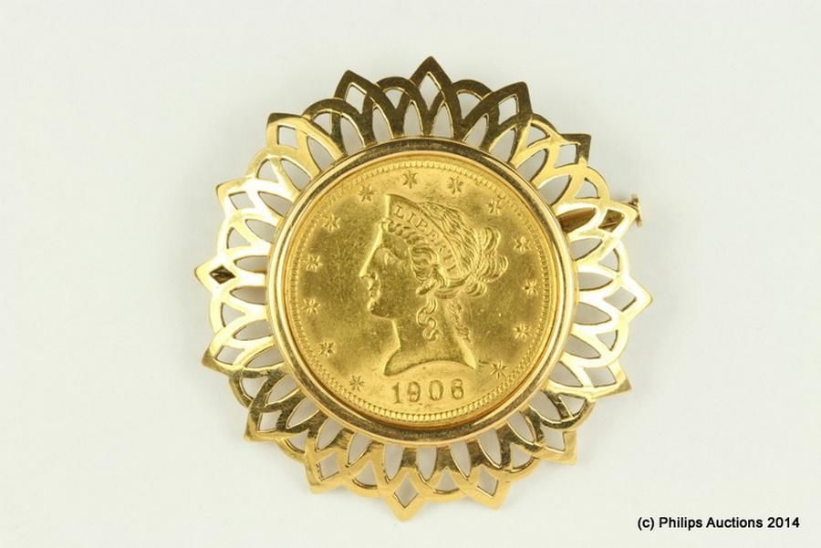 A 1906 American gold $10 dollar coin brooch, 18ct and 21 6ct