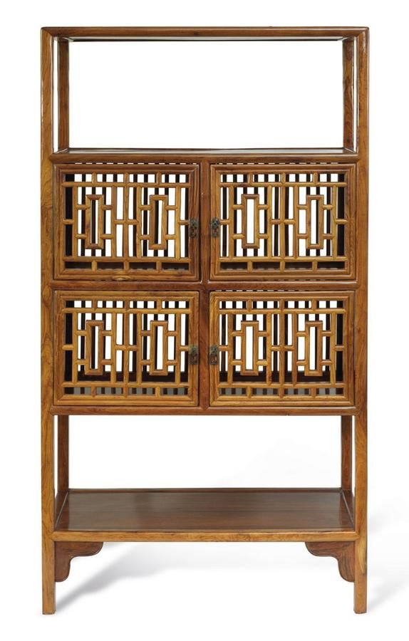 A Huanghuali Open Shelf Cabinet With Spindles And Lattice Work,u2026