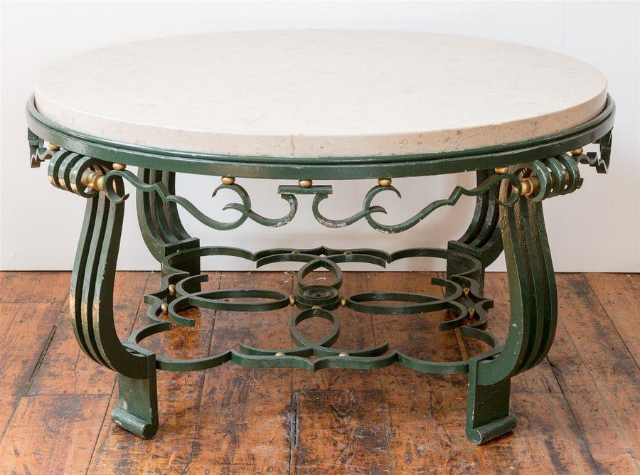 A circular French Art Deco wrought iron painted coffee table,… - Tables - Centre, Loo and Supper ...